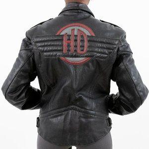 Vintage Harley Davidson Leather Biker Jacket Black